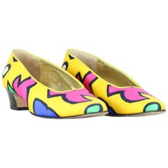 Escada 1980s Yellow Bold Abstract Print Fabric Pumps