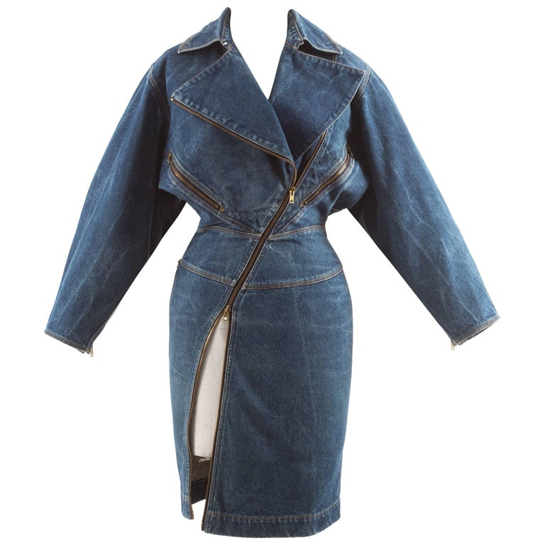 Alaia Autumn-Winter 1985 blue denim zipper dress For Sale