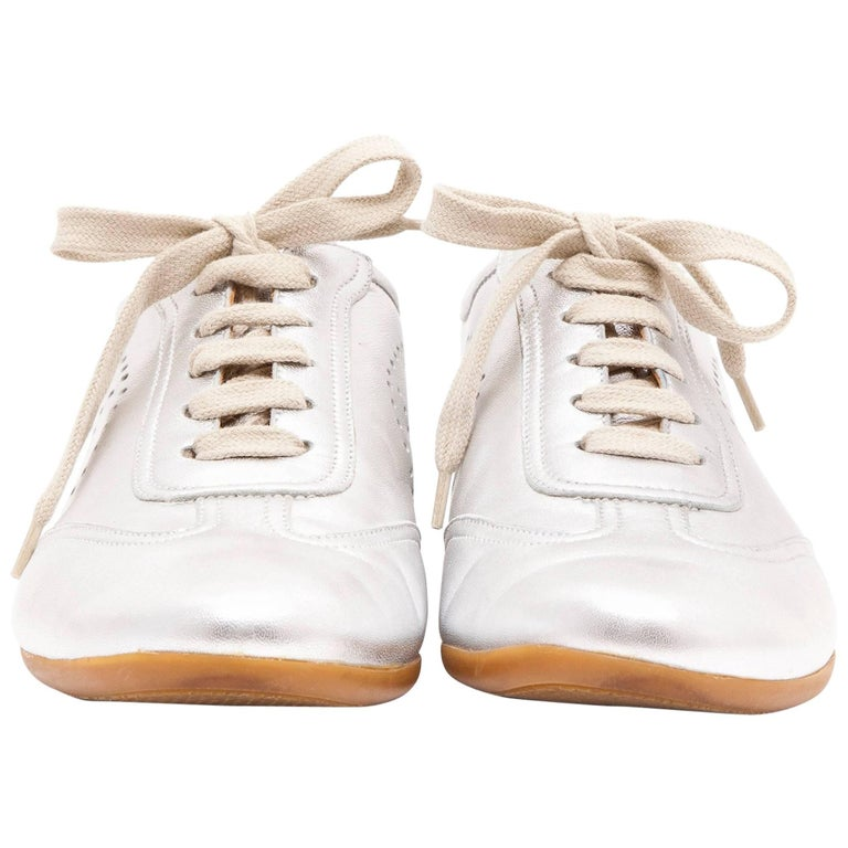HERMES Sneakers in Silver Color Leather Size 40FR