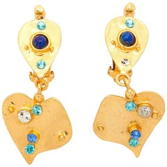 CHRISTIAN LACROIX Pendant Clip-on Earrings in Gilded Metal and Rhinestones