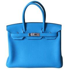 HERMES BIRKIN Togo 30' Zanzibar Blue and Malachite