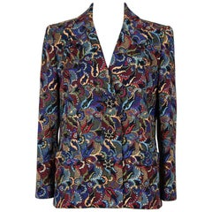 Christian Dior 1990s Numbered Haute Couture Wool Silk Paisley Blazer