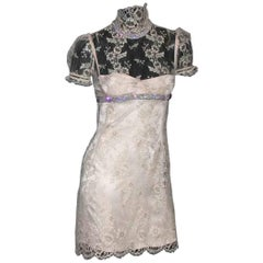Stunning Dolce & Gabbana French Lace Crystal Laceup Corset Dress
