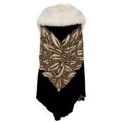 1920's Opulent Beaded Gold Lamé & Black Velvet Fox-Collar Flapper Coat Cape