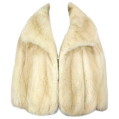 Pale Blonde Mink Fur Cape Stole Wrap Jacket With Huge Collar, 1960s