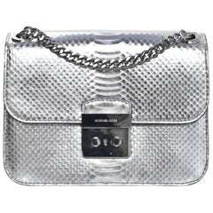 Michael Kors NEW Sloan Editor Silver Embossed Leather Flap Bag