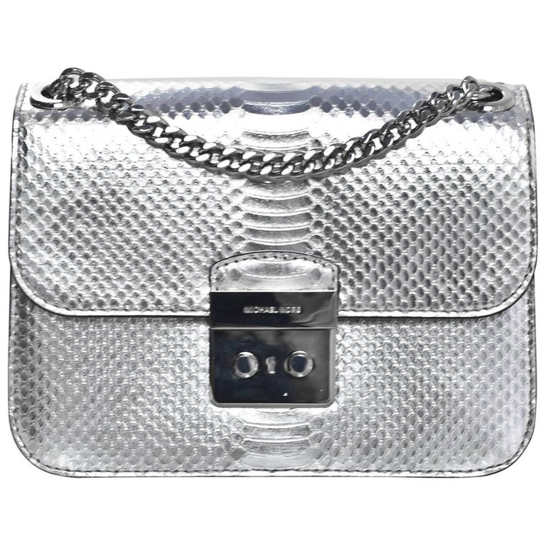 6e3d676792 Michael Kors NEW Sloan Editor Silver Embossed Leather Flap Bag For Sale