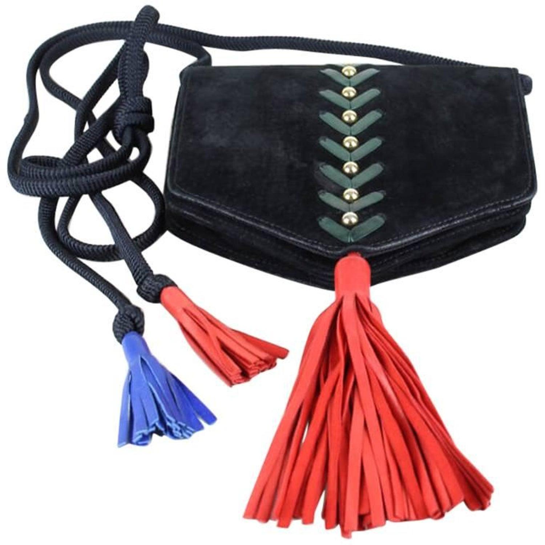 b0df45996a Yves Saint Laurent YSL Collectible Black Suede Tassel Shoulder Bag Purse