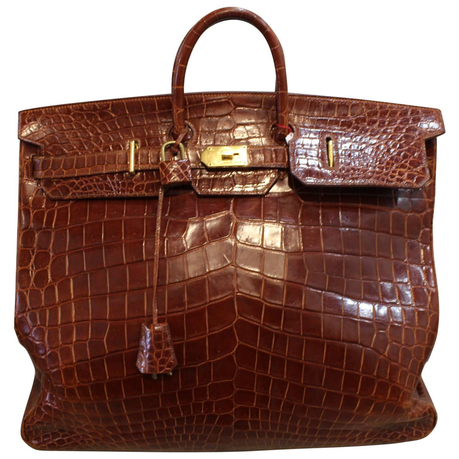 1993 Hermes Travel XXL Birkin Bag / Haut à Courroies in Brown Cognac  Crocodile For Sale
