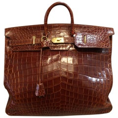 1993 Hermes Travel XXL Birkin Bag in Brown Cognac Crocodile