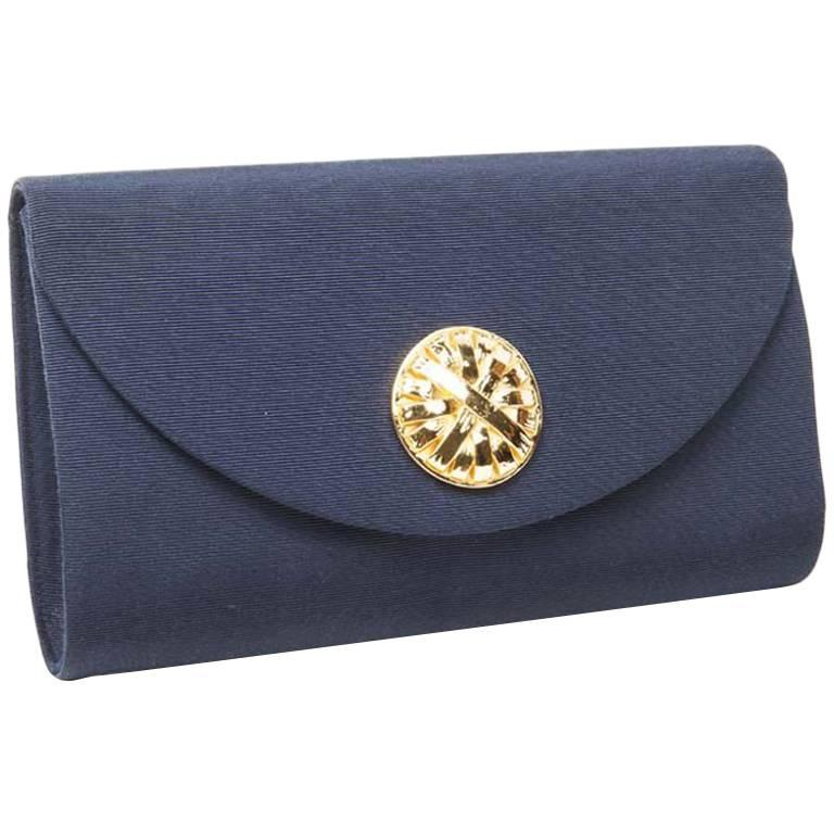 Vintage GIVENCHY Clutch in Blue Night Satin