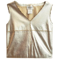 Chanel Metallic Gold Leather Shell Top sz FR36
