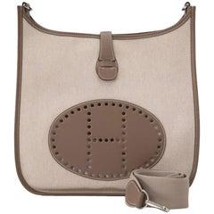Hermes Etoupe Leather Toile Evelyne II GM Shoulder Crossbody Bag