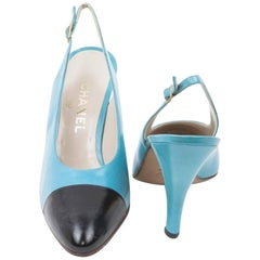 CHANE Black and Turquoise Leather Pumps Size 40FR