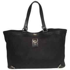 Gucci Black Monogram Canvas Abbey Tote GM Shoulder Bag