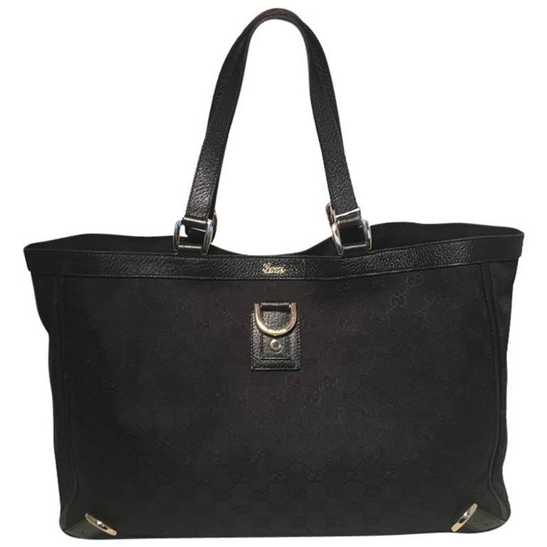 Gucci Black Monogram Canvas Abbey Tote GM Shoulder Bag  For Sale