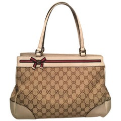 Gucci Beige Monogram and Leather Mayfair Tote Shoulder Bag