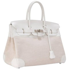 Hermes Toile H White Swift Leather Birkin 35cm Bag