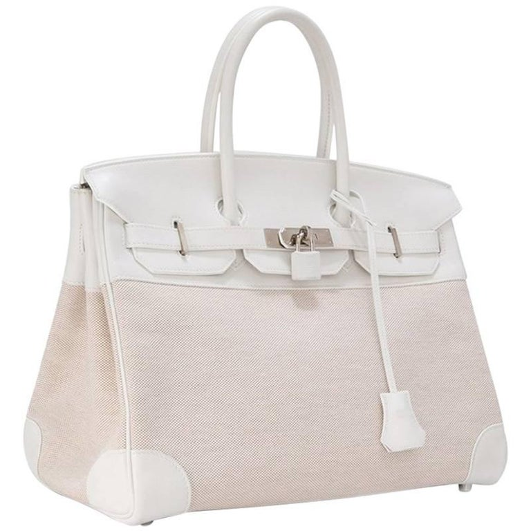 Hermes Toile H White Swift Leather Birkin 35cm Bag 1