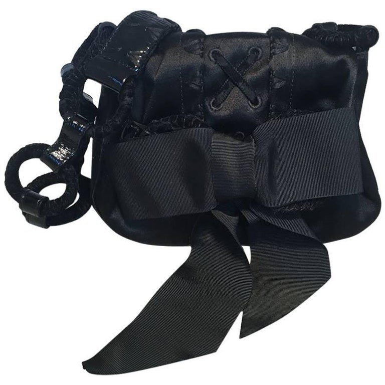 397d492f0136 Yves Saint Laurent YSL Black Silk Satin Ribbon Bow Evening Bag For Sale