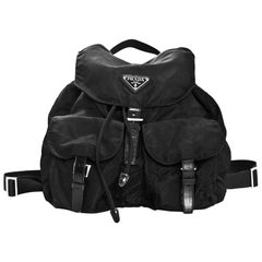 Prada Black Tessuto Nylon & Leather Trim Backpack Bag w/ Front Pockets