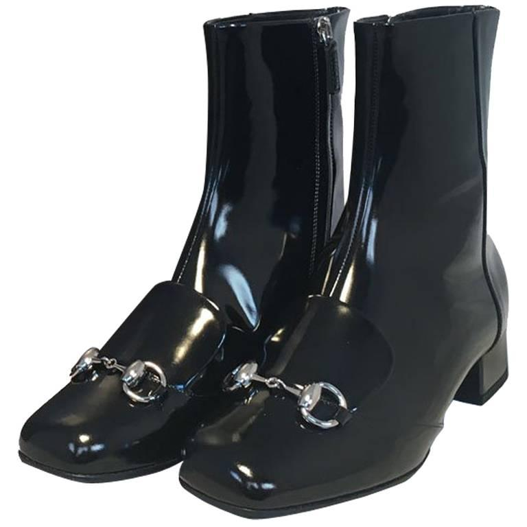 d0271243b22 NWOT Gucci Black Patent Leather Regent Ankle Boots at 1stdibs
