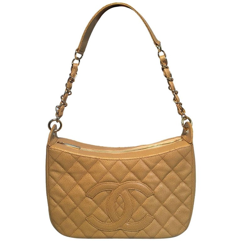 Chanel Tan Quilted Caviar Leather Shoulder Bag For Sale
