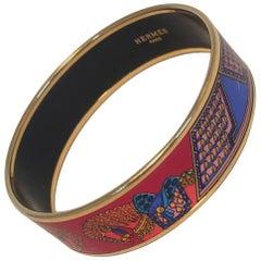Hermes Vintage Red and Blue Horse Print Enamel Bangle Bracelet