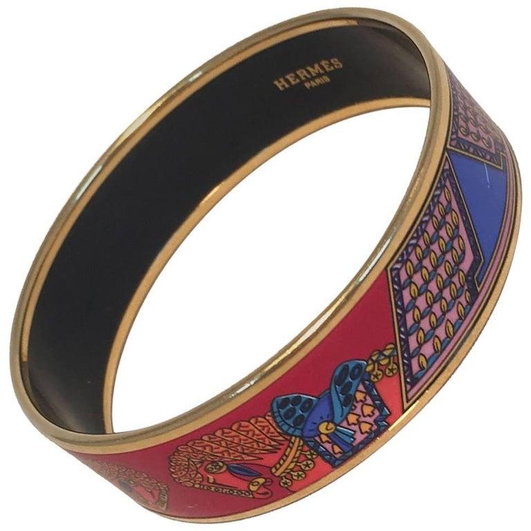 Hermes Vintage Red and Blue Horse Print Enamel Bangle Bracelet For Sale