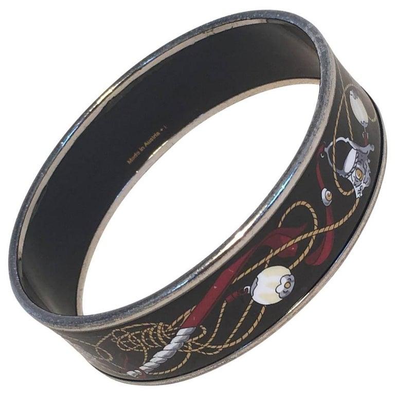 Hermes Vintage Black Printed Bridle and Whip Enamel Bangle Bracelet For Sale