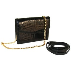 Black Alligator Clutch and Shoulder Bag by Gucci with Two Crossbody Straps
