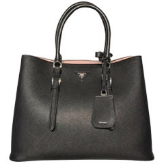 "Prada Double Saffiano Leather Tote Bag (Black, Size - 14""X11""x7"")"