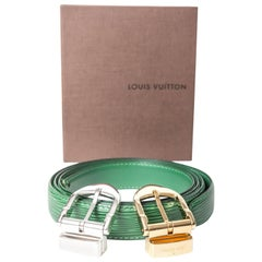 Louis Vuitton Green Epi Belt with Silver and Gold Buckles / New With Box - 44