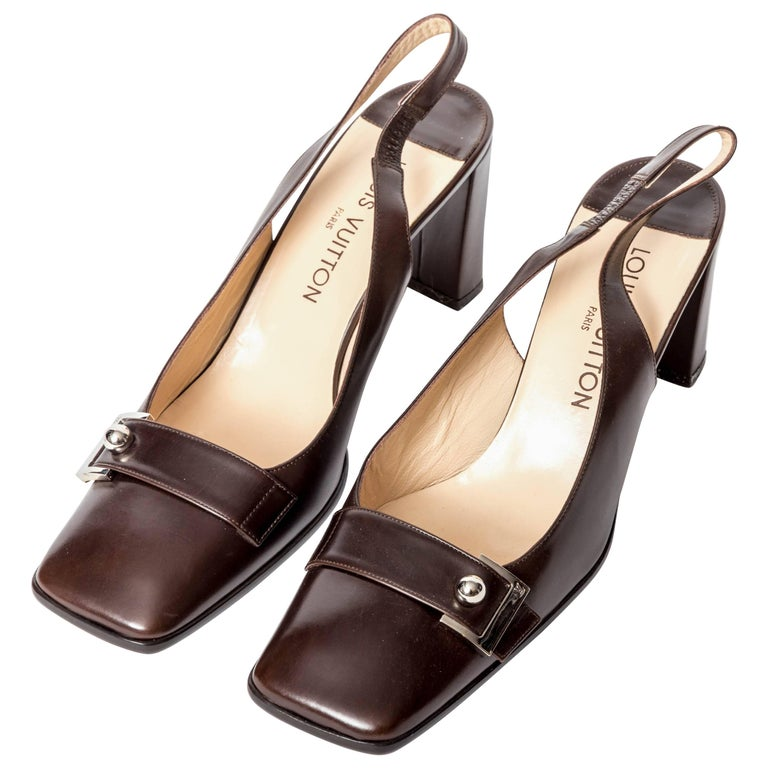 Vintage Louis Vuitton Brown Leather Slingbackx - Size 9.5