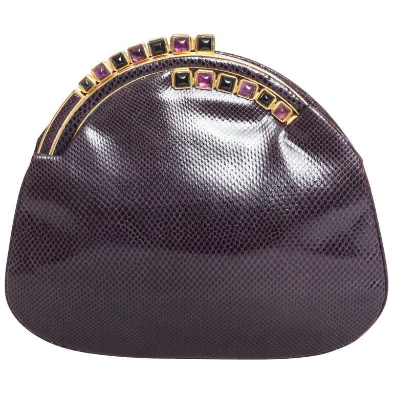 Judith Leiber Eggplant Snakeskin Clutch with Semiprecious Stones  For Sale