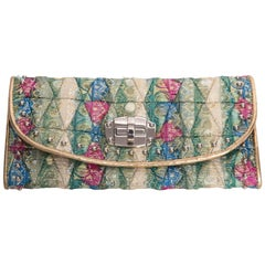 Miu Miu Brocade Wallet Lined in Gold Kidskin