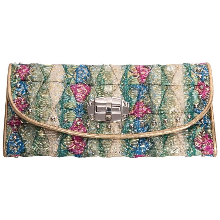 Miu Miu Brocade Wallet Lined in Gold Kidskin