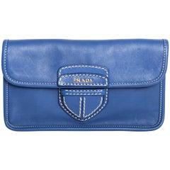 Prada Blue Leather Clutch with White Stitching