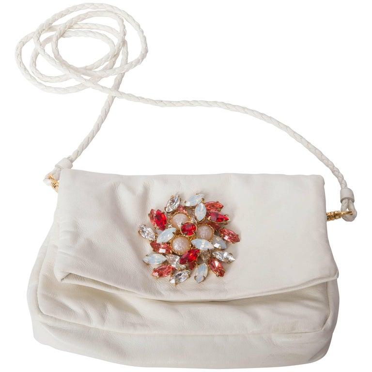 Miu Miu White Leather Jewelled Clutch / Crossbody