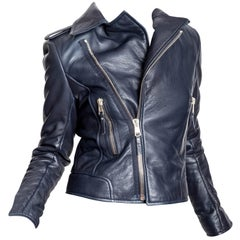 Balenciaga Motorcycle Jacket in Navy Blue Leather - 42