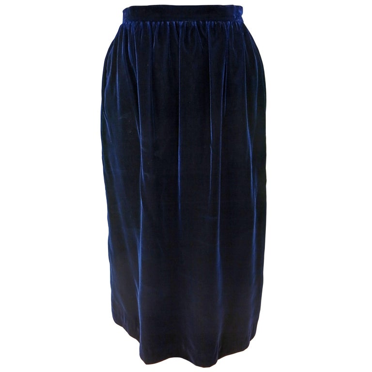 Pierre Cardin Royal Blue Velvet Skirt, 1970s