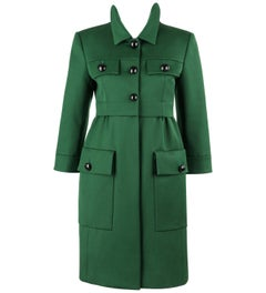 LOUIS VUITTON Pre-Fall 2012 Emerald Green Cashmere Three Button Car Coat NWT
