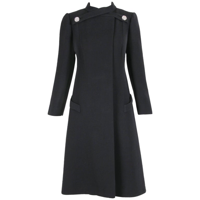 1970's Pauline Trigere Black Wool Coat w/Rhinestone Buttons