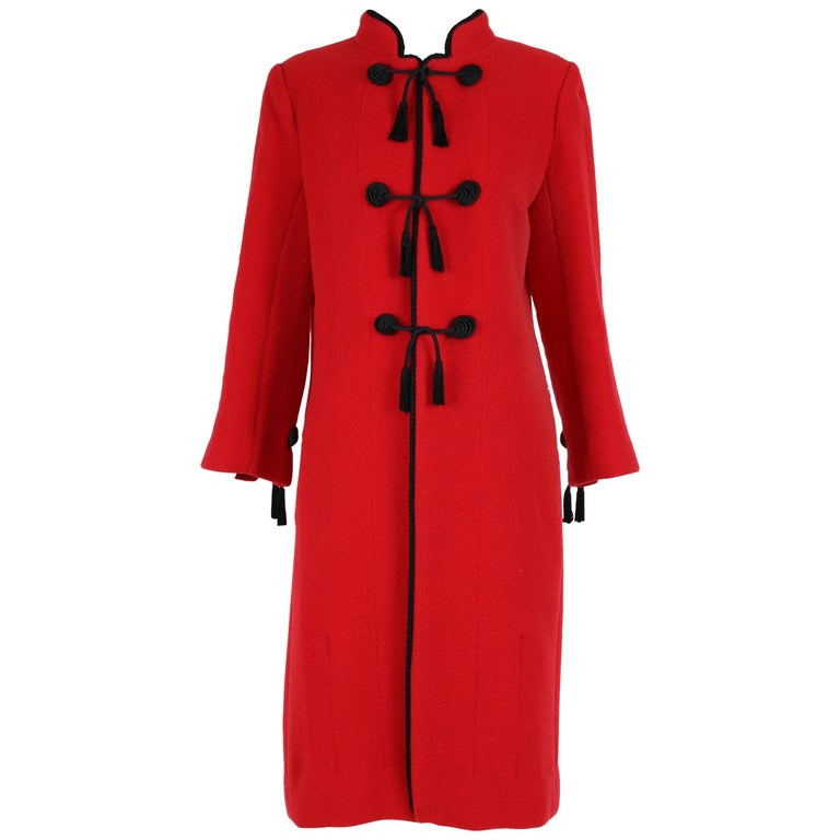 Chanel Red Wool Coat with Black Silk Cord and Tassel Ties, 1970s