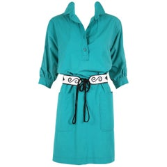 1970's Yves Saint Laurent YSL Teal Green Smock Dress