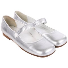 Courreges Metallic Silver Leather Mary Janes Shoes