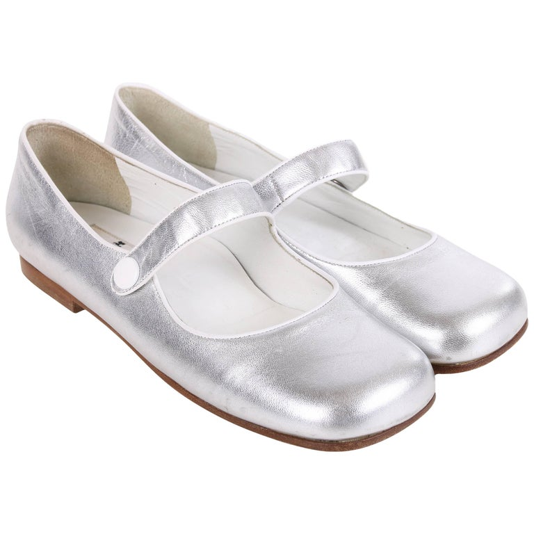 76032928014c Courreges Metallic Silver Leather Mary Janes Shoes For Sale at 1stdibs