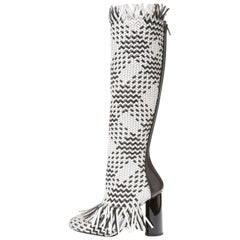 Proenza Schouler New Sold Out Black White Fringe Knee High Boots in Box