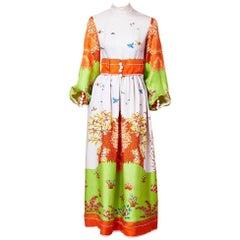 Ronald Amey Tree Patterned Silk Maxi Dress