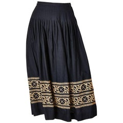 Yves Saint Laurent Cross Stitched Embroidered Skirt